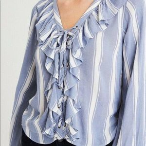American Eagle Striped Lace Up Ruffle Blouse Large